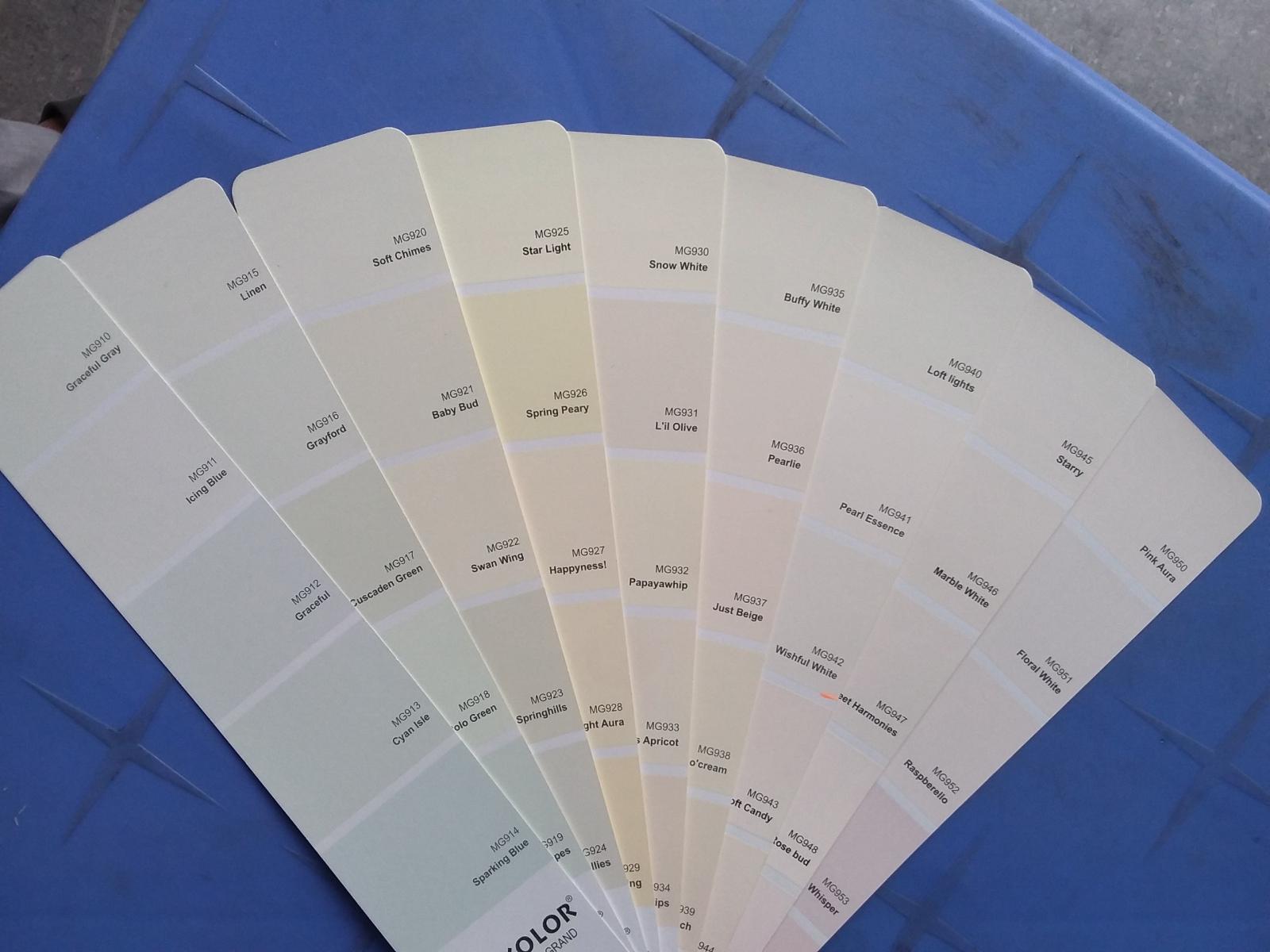 Sơn Mykolor gam màu trắng sứ, trắng xám, trắng vàng